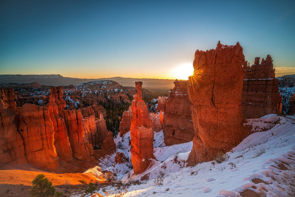 Обои Bryce Canyon National Park, закат, горы, скалы