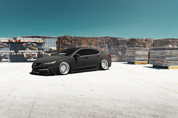 Обои Acura, Front, Car, TLX, Low, Grey, Stance