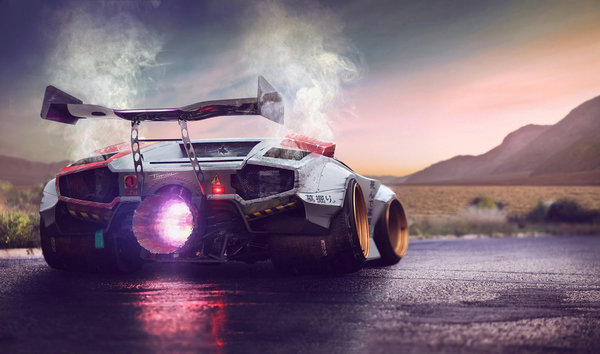 Обои Lamborghini, Power, by Typerulez, Jet, Engine, Concept, Countach, Fire