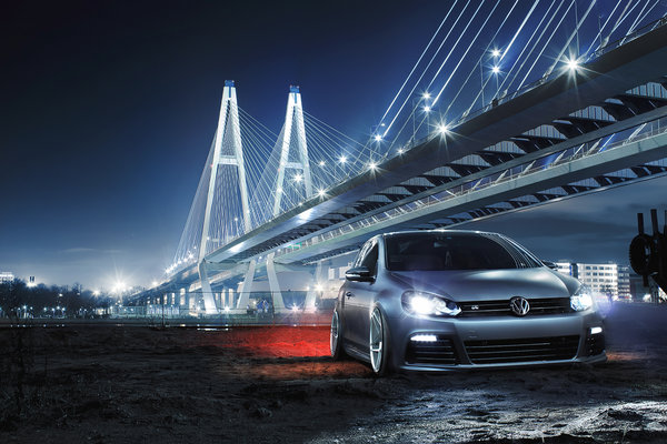 Обои Volkswagen, Front, Low, Bridge, Golf R, Car, Night