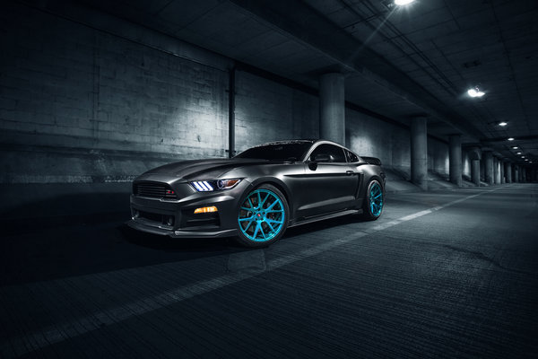 Обои Ford, Front, Mustang, Vossen, Roush X, Blue, Wheels