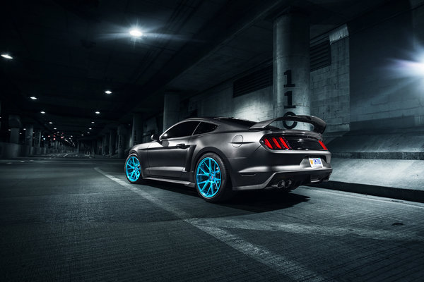 Обои Ford, Vossen, Mustang, Blue, Roush X, Rear, Wheels