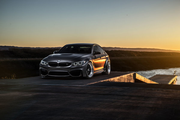 Обои BMW, Carbon, Mode, Sun, Front, View, F80, Black, Matte, M3
