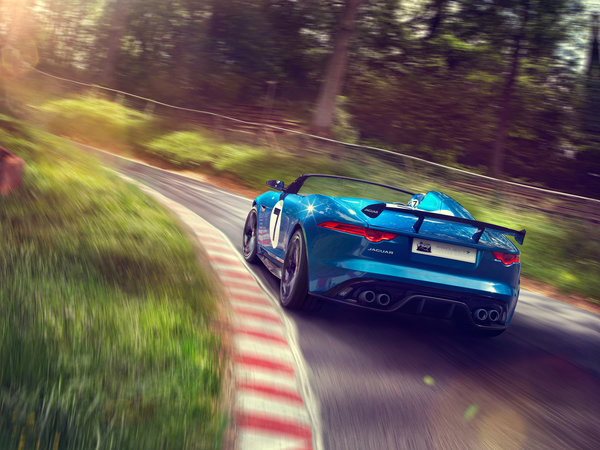 Обои Project 7, speed, Jaguar, supercar, Concept, auto, road, car, blue
