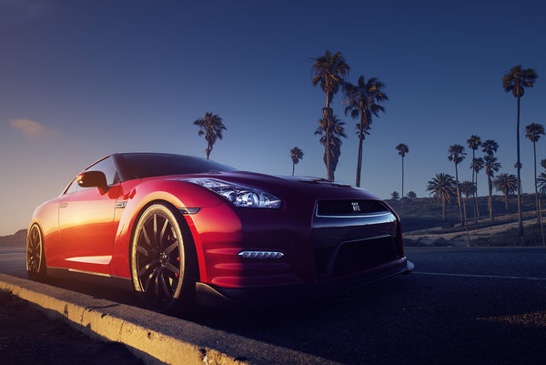 Обои Red, Gt-r, Sundown, Palms, Road, Front, Nissan, R35
