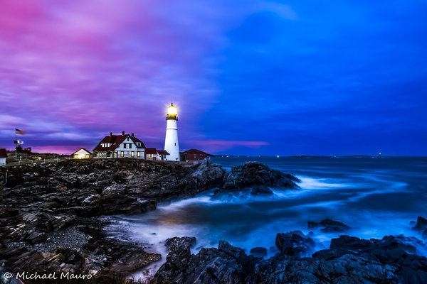 Обои океан, берег, вода, маяк, море, дома, Portland Headlight, пейзаж, камни