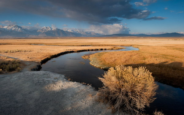 Обои sunrise, Owens River, clouds