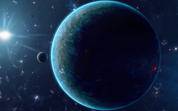 Обои Planet, blue, Sci Fi, darkness