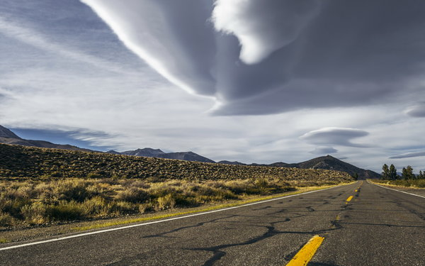Обои california, sky, road, desert, storm