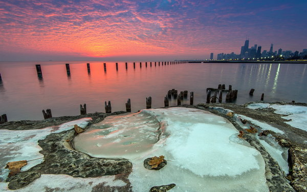 Обои sunrise, Michigan, Beach, ice, Lake, Fullerton, water, Chicago