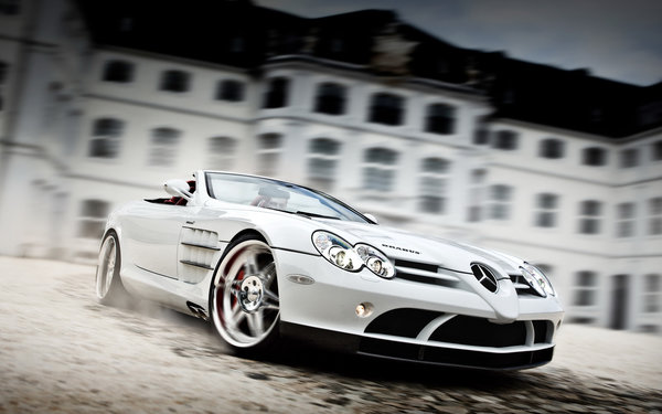 Обои Mercedes-Benz SLR Roadster McLaren, White Auto, Brabus Exclusive Sport Program