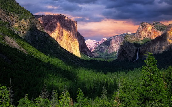 Обои Day, Yosemite National Park, Sunset, Cloudy