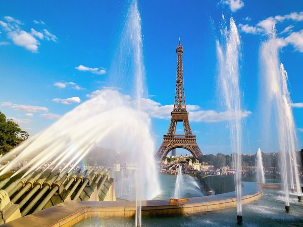 Обои Eiffel Tower and Fountain, France, Paris