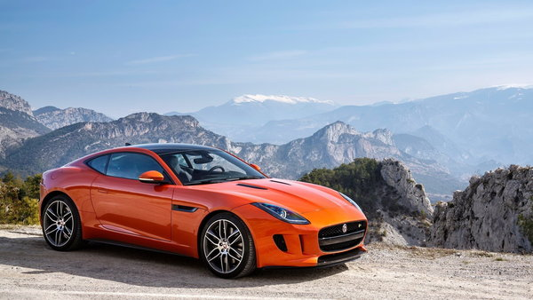 Обои coupe, f type, orange, jaguar