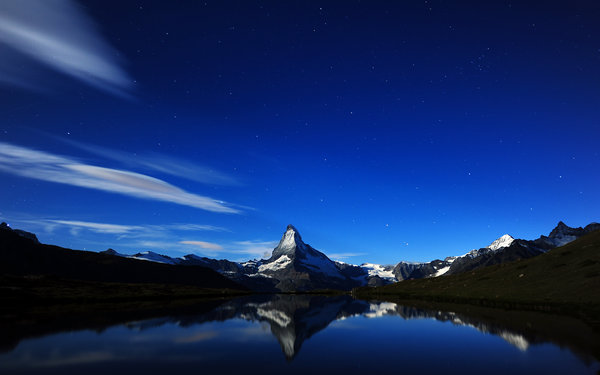 Обои швейцария, горы, Matterhorn's Midnight Reflection, ночь