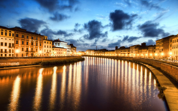 Обои Italy, ночь, Италия, night, River Arno, Пиза, Pisa