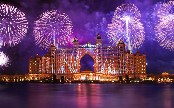 Обои Atlantis The Palm, салют, феерверк, вода, вода, дубай, dubai