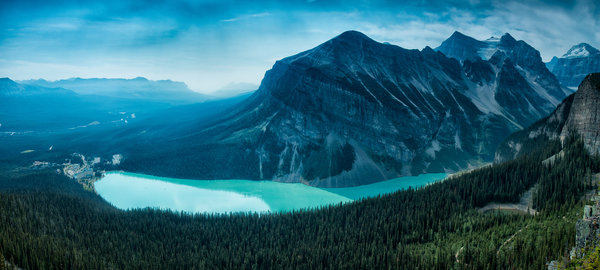 Обои mountain, forest, canada, lake louise, alberta
