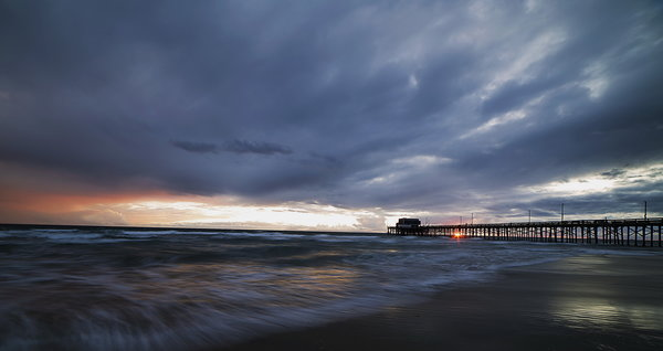 Обои море, Stormy Sunset, мост, Newport Beach