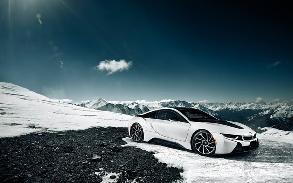 Обои White, Snow, Sky, Front, Moutian, Sun, BMW