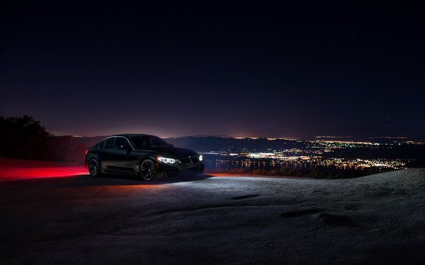 Обои Car, Front, Ligth, F80, Sky, BMW, Black, City, Nigth