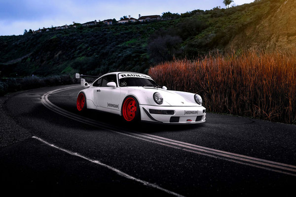 Обои Car, 993, Porsche, Road, Hoonigan, White, Sun, RWB