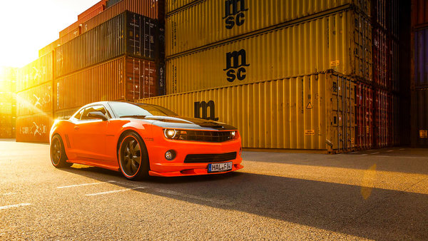 Обои Car, Muscle, Front, Chevrolet, Sun, Camaro, Tuning, Wheels, Beam, Orange