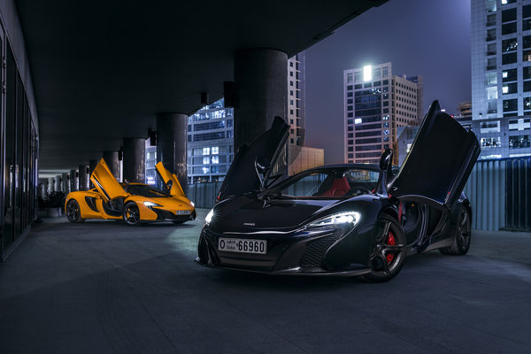 Обои McLaren, Front, Supercars, Black, Dubai, Doors, 650S, Orange