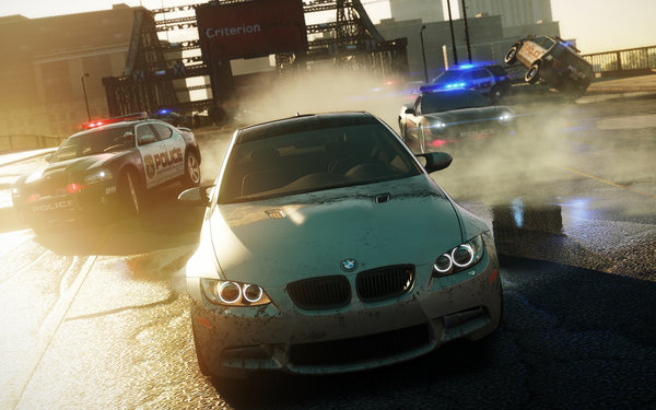 Обои NFS Most Wanted 2012, дорога, BMW, полиция