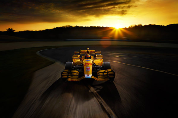 Обои Bolide, Speed, Track, Honda, Race, Yellow, Sunset
