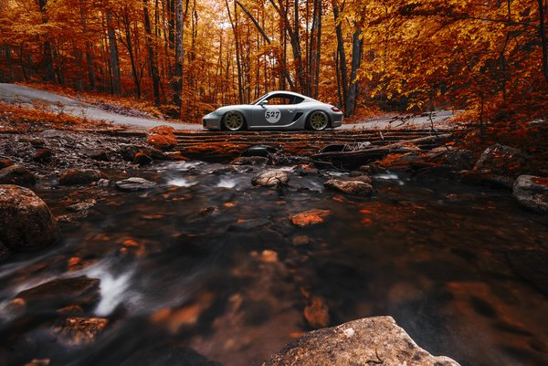 Обои Porsche, Side, Stance, View, Orange, Works, Forest, Cayman