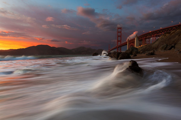 Обои San Francisco, Golden Gate Bridge, Marshall Beach