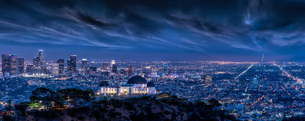 Обои Architecture, Griffith Observatory, Lightning, Cityscape, L.A, Clouds, Long, Exposure, Sky, Night, Lights, Los Angeles