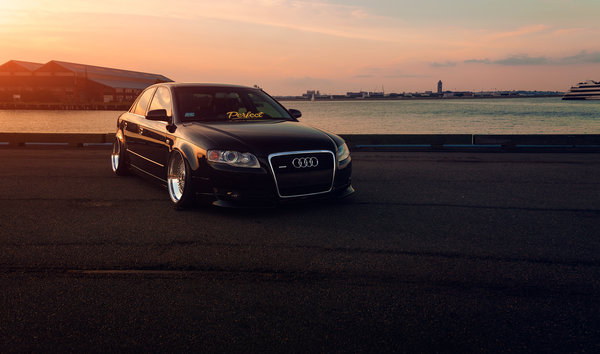 Обои Sunset, Stance, Vehicle, Audi, Black, Front, Slammed