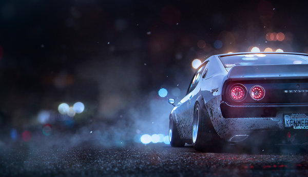 Обои Khyzyl Saleem, Concept Artist at EA, Game Art, Ghost Games, Skyline, Nissan