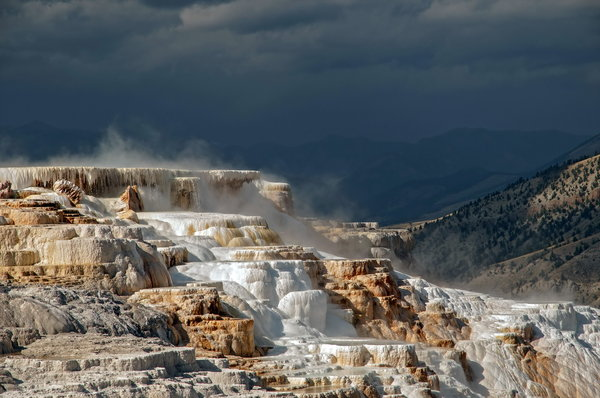 Обои USA, Yellowstone terraces, Wyoming, Yellowstone N.P