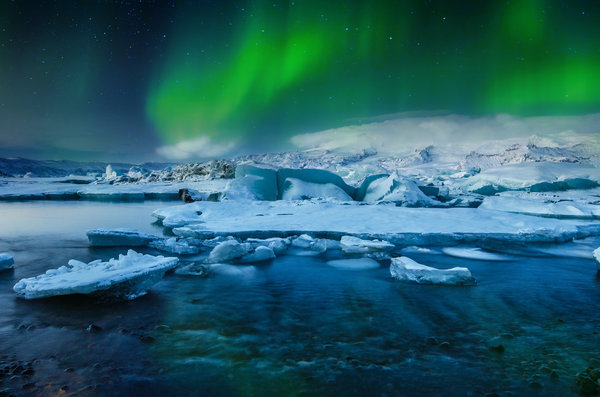 Обои Northern, Lights, Lake, Snow, Borealis, Jökulsárlón, Aurora, Stars, Winter, Ice, Glacial, Frozen, Iceland