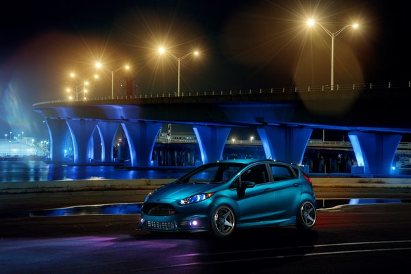 Обои ADV.1, Blue, Wheels, Ford, Night, Fiesta, Warren, Front, Bridge