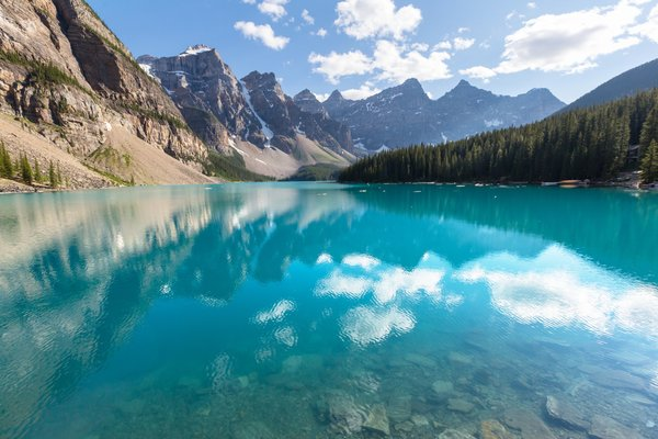 Обои лес, landscape, lake, Banff National park, Moraine, Canada, озеро