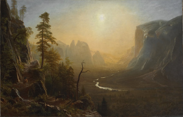 Обои Albert Bierstadt, картина, живопись, Glacier Point Trail, painting, Yosemite Valley
