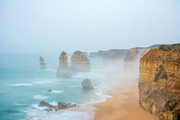 Обои 12 apostles, Australia, rocks, mist, water, sand, cliffs, sea