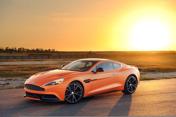 Обои Aston Martin, orange, tuning, Vanquish, matte