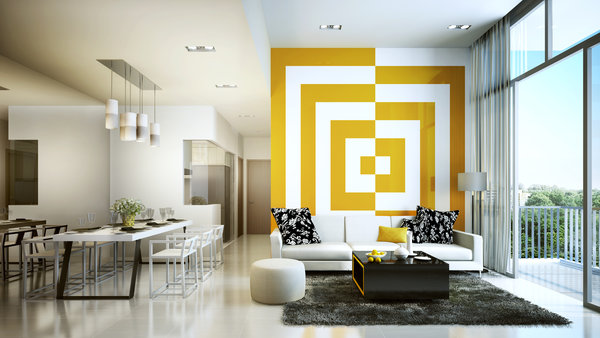 Обои decoration, living room, yellow, white
