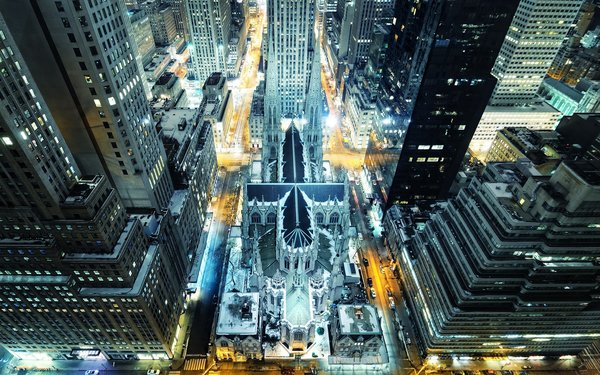 Обои nyc, огни, ночь, St. Patrick's Cathedral, manhattan, rockefeller center, madison avenue, нью-йорк, Night, New York City