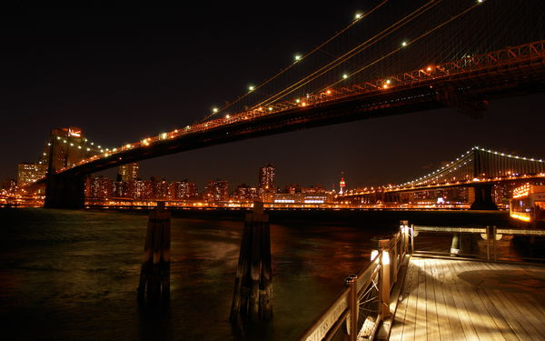Обои New York, Нью Йорк, bridge, lights, view, photo, city, Bridges, night