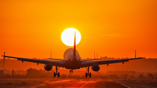 Обои Aircraft, sunset, landing