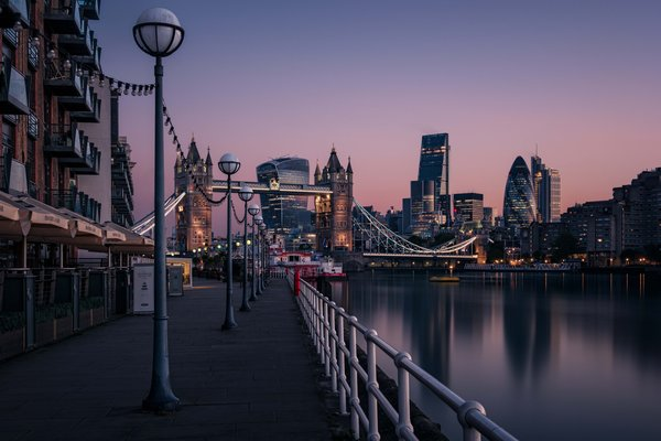 Обои England, London, cityscape, Tower Bridge, urban scene, dawn, Thames River, morning, sunrise