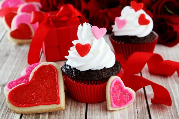 Обои love, hearts, cupcake, сердечки, red, romantic, кексы, valentine's day, sweet