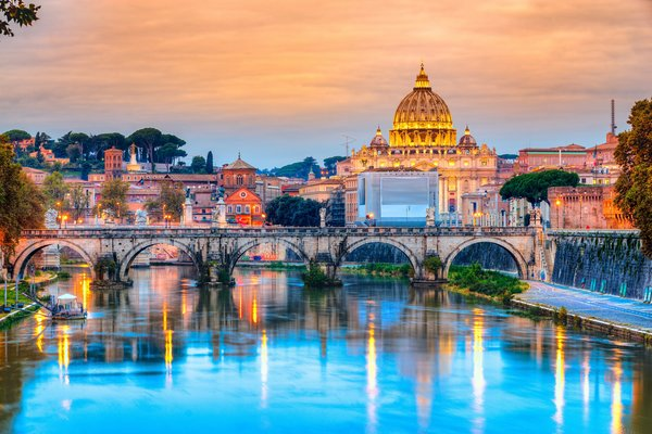 Обои city, Italy, Рим, travel, basilica, view, Europe, panorama, город, Vatican, Cathedral, Rome, Италия
