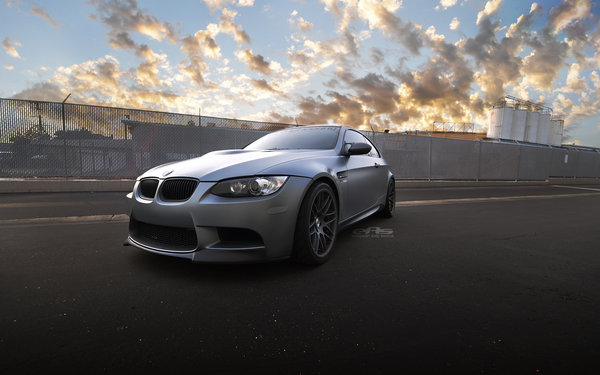 Обои серый, бмв, matte space gray, закат, матовый, bmw, sunset, e92, облака